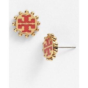 New Tory Burch Winslow logo stud earrings pink